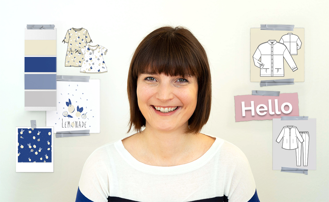 The picture shows the portrait of Evelyn Kantioler and her services like pattern design, illustration and fashion design.