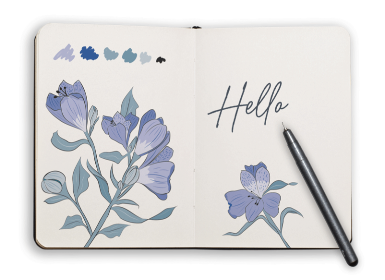Picture of sketchbook with flowers and pen to invite visitors to get in touch.