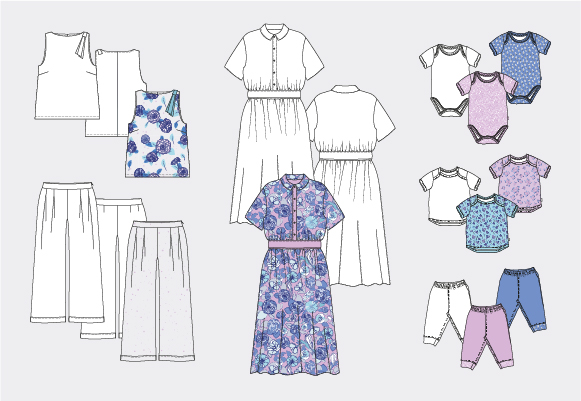 The illustration mention several clothes. Flat sketches of dresses, tops, shorts, baby shirts and toddler are in black and with and filled with colourful pattern designs.