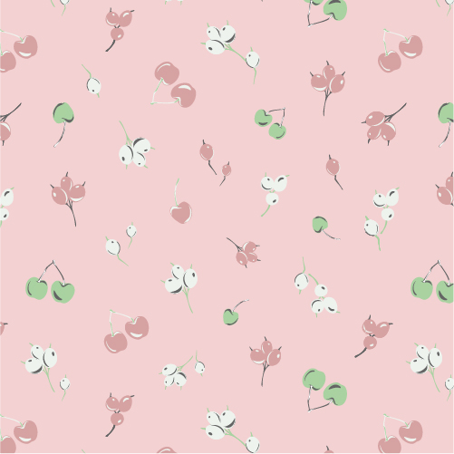 Seamless pattern design illustration of cherries and berries in green, pink white and grey on a lither pink background.