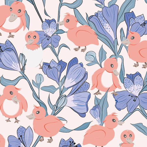 Illustration of little chicks surrounded by flowers and leafs.