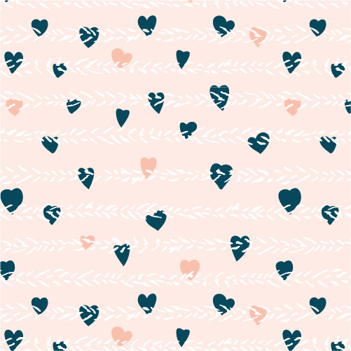 Illustration of repeating pattern with little blue and pink heats on light rose and white background