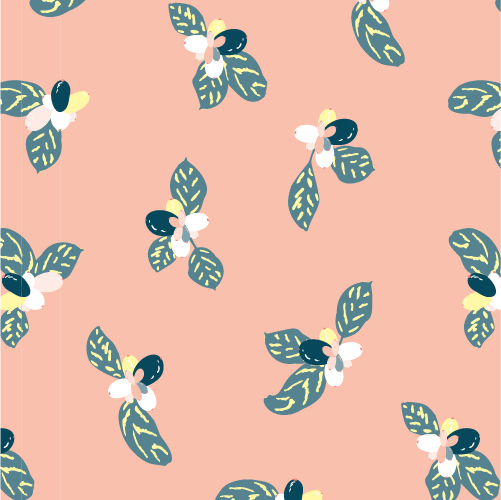 The illustration of seamless pattern design shows leafs and fruits in teal with yellow and white on a peach background.