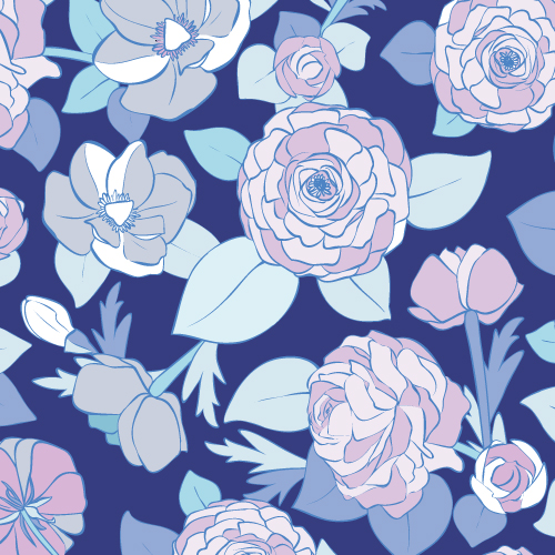 Vector based floral design with plants like roses, buttercups, buds and leafs in lilac and blue shades.