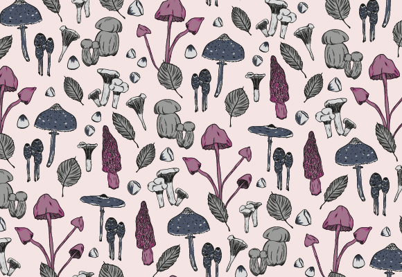 Illustration of pattern design with mushrooms, nuts and leafs in happy pink and grey colours.