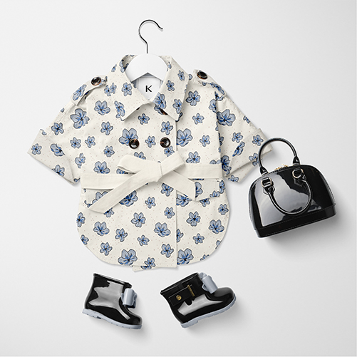 Seamless floral textil design on baby coat