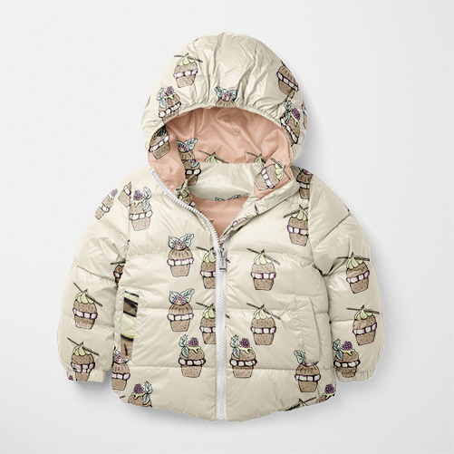 Seamless cute sweet cup cake design on baby winter jacket